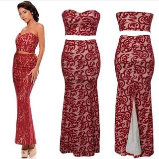 ラスト◆厚手上質◆新品◆インポート◆2ピース総柄ロングドレス◆ピンク×赤(ロングドレス)