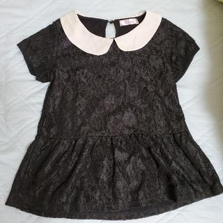 シマムラ(しまむら)の黒レースペプラムトップス(カットソー(半袖/袖なし))