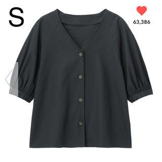 ジーユー(GU)のGU リネンブレンドフロントボタンブラウス(5分袖) ネイビー S(シャツ/ブラウス(半袖/袖なし))