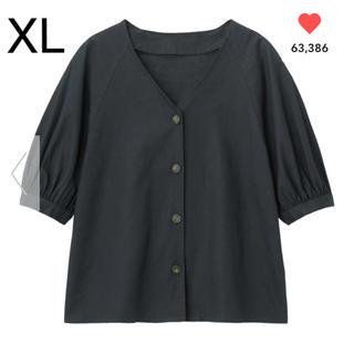 GU リネンブレンドフロントボタンブラウス(5分袖) ネイビー XL