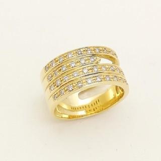 透かしがオシャレな幅広リング ✨ダイヤ✨も綺麗です♥️ K18YG(リング(指輪))
