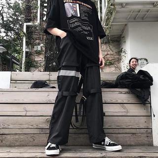 韓国ファッション メンズ モード ストリート 黒 ブラックリフレクターパンツ