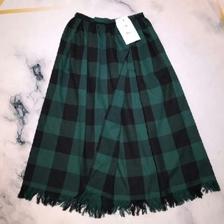 ディオール(Dior)のDIOR  ディオール グリーンチェック ロングスカート(ロングスカート)