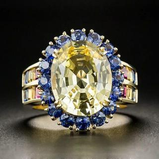 18KGP 高品質AAAイエロージルコンリング 宝石(リング(指輪))