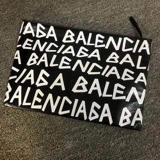 Balenciaga - バレンシアガ ロゴ レザークラッチバッグ ブラックホワイト
