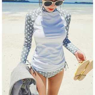 ★新品 女性 水着 体型カバー ラッシュガード 長袖 グレー ドット柄 M