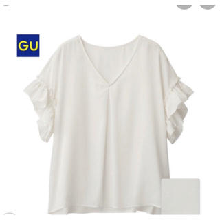 GU サテンラッフルブラウスT (ホワイト)