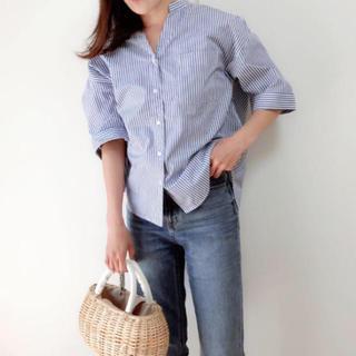 ジーユー(GU)のストライプワイドスリーブシャツ(5分袖) (シャツ/ブラウス(半袖/袖なし))