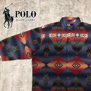 POLO RALPH LAUREN - 【激レア】ポロラルフローレン☆ネイティブ柄総柄ボックスシルエットシャツ 90s