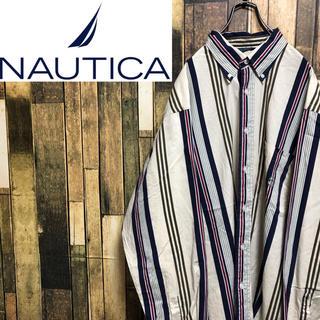 NAUTICA - 【激レア】ノーティカ☆USA製刺繍ロゴ入りビッグマルチストライプシャツ 90s