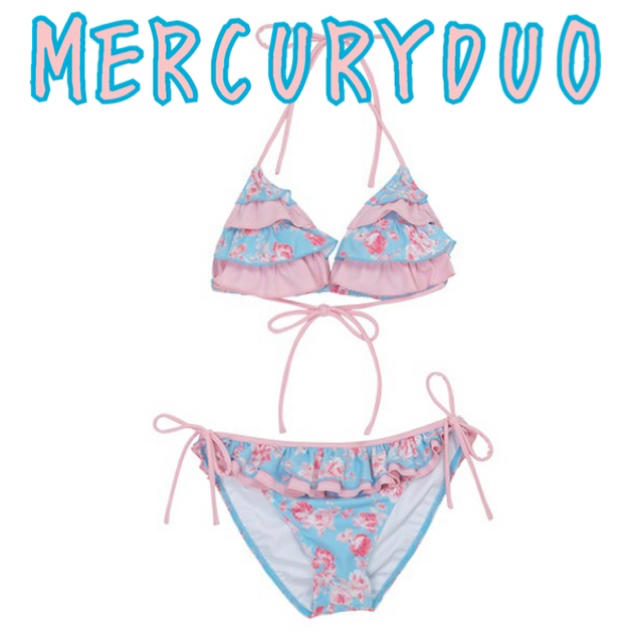 MERCURYDUO(マーキュリーデュオ)のマーキュリーデュオ 花柄フリル三角ビキニ バイカラー ピンク 水色 リボン 水着 レディースの水着/浴衣(水着)の商品写真