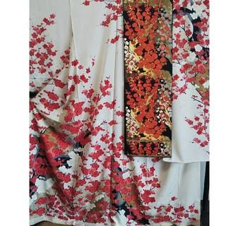 正絹 未仕立て振袖上代650000円と仕立て上がり袋帯のセット 梅(振袖)