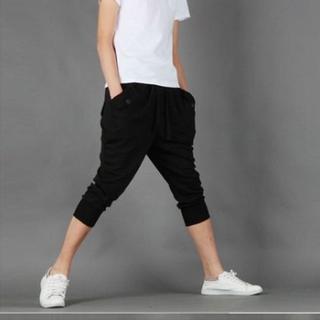メンズ スウェット7分丈 パンツ ≪ブラック:XL≫ (その他)
