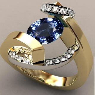 サファイアとゴールドのデザインリング(リング(指輪))