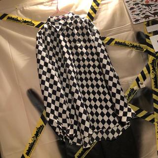 市松模様 ブロック チェック ビッグ シャツ 古着 韓国 モード 白 黒(シャツ)