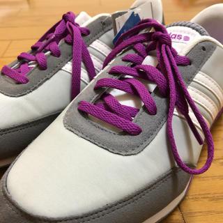 アディダス(adidas)のadidas(グレー/パープル)【Ladys/23.5/新品】(スニーカー)