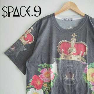 737 SPACE9 全面 アート Tシャツ 個性的 黒豹 王冠 クラウン(Tシャツ/カットソー(半袖/袖なし))