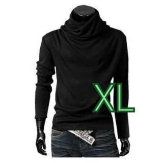 アフガン タートルネック 長袖 Tシャツ カジュアル メンズ ブラック XL(Tシャツ/カットソー(七分/長袖))