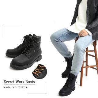 メンズブーツ トレッキングブーツ シークレットブーツ  靴 シューズ ブラック(ブーツ)
