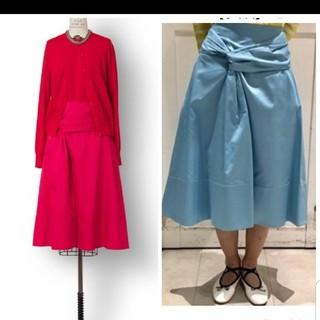 ドゥロワー(Drawer)の新品 ドゥロワー フレアスカート 36 ピンク リボン(ひざ丈スカート)