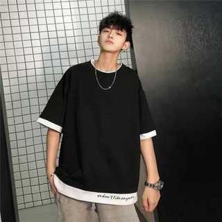 ブラック 重ね着風 トップス ビッグシルエット Tシャツ 韓国ファッション (Tシャツ/カットソー(半袖/袖なし))