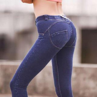 ■Lサイズ デニム レディース ストレッチ レギンス 美脚 美尻 動きやすい(デニム/ジーンズ)