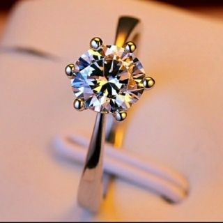 ダイヤモンドリング シルバーリング 大粒ジルコニアリング 6本立爪リング 11号(リング(指輪))