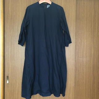 MUJI (無印良品) - 無印良品 フレンチリネン洗いざらし七分袖ワンピース