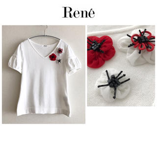 René - Rene ☆ルネ★コサージュ  ニット   カットソー  白  半袖