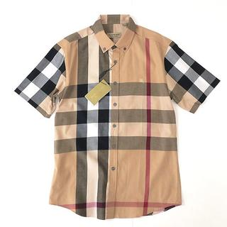 BURBERRY - 新品 バーバリー メガチェック◎半袖ボタンダウンシャツ ホース刺繍入り◎ベージュ