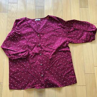 ハニーズ(HONEYS)の赤 ドットシャツ(シャツ/ブラウス(半袖/袖なし))