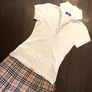 バーバリーブルーレーベル(BURBERRY BLUE LABEL)のバーバリーブルーレーベル ポロシャツ ホワイト【美品】新品・未使用(ポロシャツ)