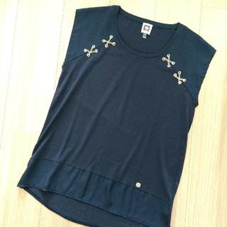 アンクライン(ANNE KLEIN)の着用1回 anne klein Mサイズ相当 シャツブラウス ネイビー 美品(シャツ/ブラウス(半袖/袖なし))
