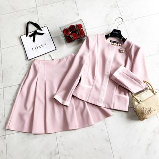 FOXEY - 美品 フォクシー 洗える スーツ ピンク ノーカラー 品格