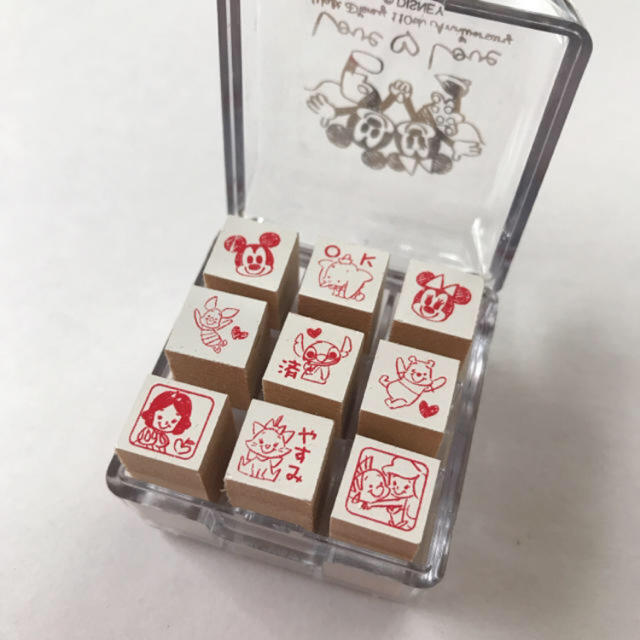 Disney(ディズニー)の最終価格 スタンプ ハンコ セット おまけ付き ハンドメイドの文具/ステーショナリー(はんこ)の商品写真