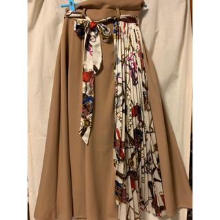 しまむら - しまむら スカーフ柄 プリーツMIXロングスカート