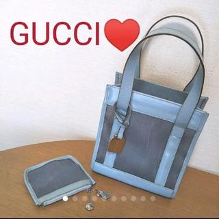 グッチ(Gucci)のGUCCI♥レザー✕メッシュミニバッグ♥コインケース付(ハンドバッグ)