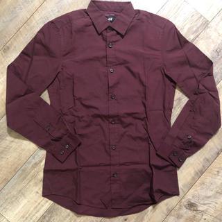 エイチアンドエム(H&M)の美品 廃盤 H&M シャツ 赤茶色 バーガンディ ベルベット色 ワインレッド(シャツ)