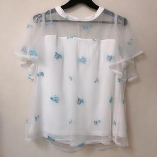 シマムラ(しまむら)のお花 刺繍 シースルー トップス (カットソー(半袖/袖なし))
