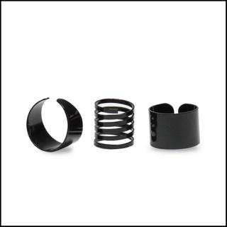 3つ セット シンプル モード リング ブラック フリーサイズ 重ね付け 指輪(リング(指輪))