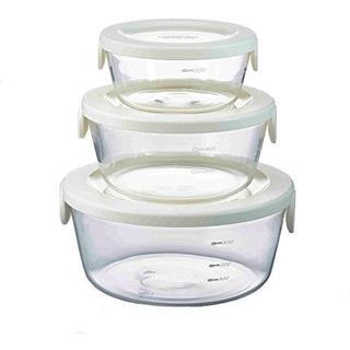 HARIO(ハリオ) 耐熱ガラス製保存容器丸3個セット ホワイト 単品