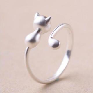 シルバー925 かわいい ネコ リング レディース 指輪(リング(指輪))