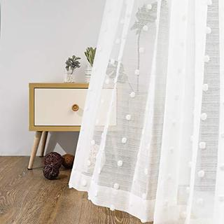 MYSKY HOME レースカーテン 2枚組 100x176cm ポンポン‐白