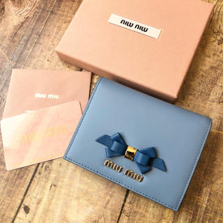 miumiu - 新品 ミュウミュウ リボン バイカラー 折り財布♡ ブルー 数点再入荷
