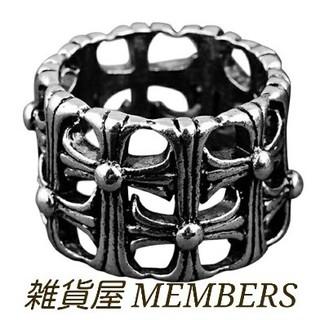 送料無料16号クロムシルバーサージカルステンレスクロス十字架セメタリーリング指輪(リング(指輪))