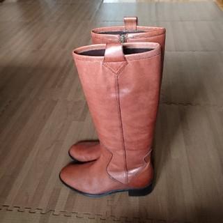 【小さいサイズ】流行☆赤みブラウン 本革 レザー ロングブーツ サイズS(ブーツ)
