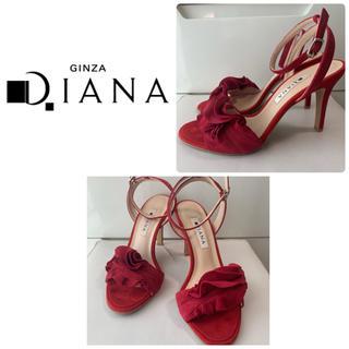 DIANA - ダイアナ レッドスエード フリル サンダル