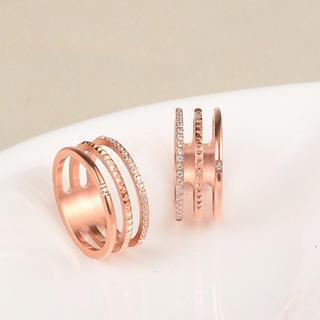 三連ステンレスリング 指輪 シンプル アレルギー 対応 (リング(指輪))