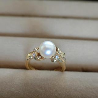 ミツコシ(三越)の指輪 パールリング 真珠 ダイヤモンド18k 8号サイズ(リング(指輪))
