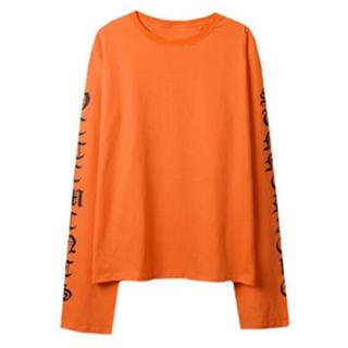 オレンジ XL トレンド ストリート系 ロングスリーブ ロンT スウェット(Tシャツ/カットソー(七分/長袖))